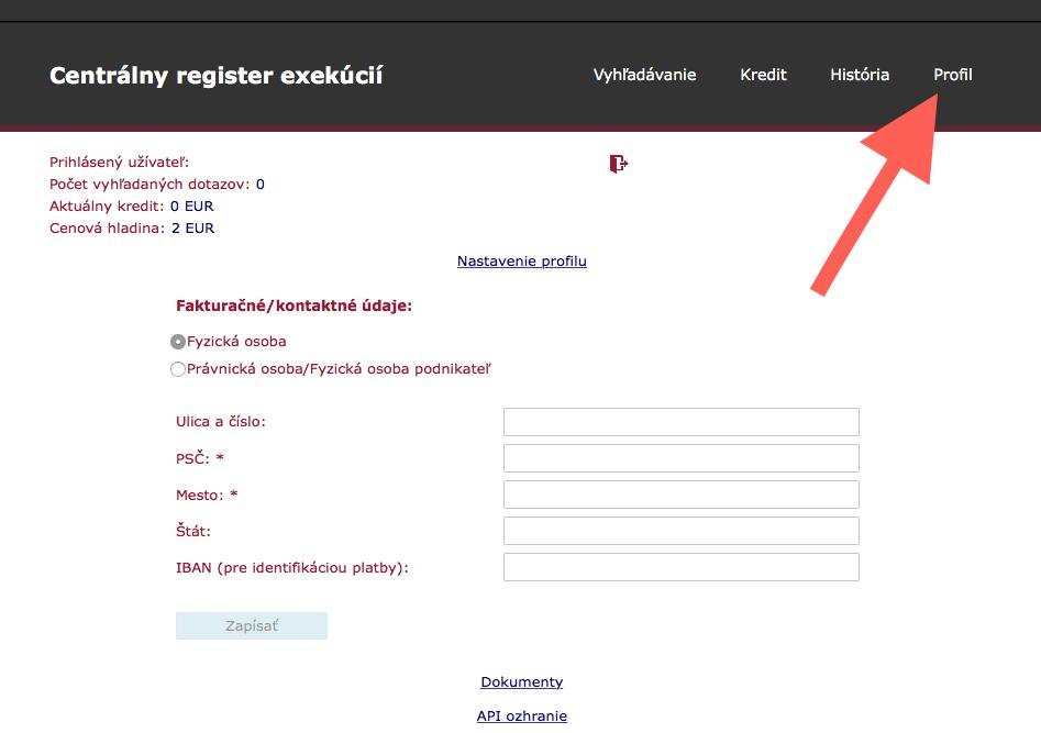 Centrálny register exekúcií-fakturačný profil