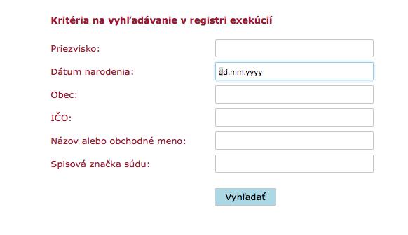 Centrálny register exekúcií_Snímka